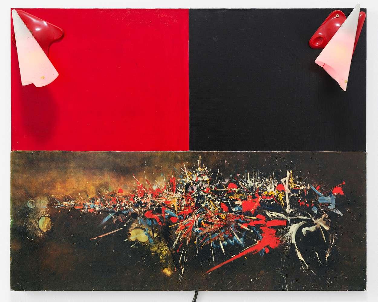Présence Panchounette, Mathieu vu, 1980 Reproduction et acrylique sur toile, appliques73 × 92 × 24 cm / 28 6/8 × 36 2/8 × 9 1/2 in.