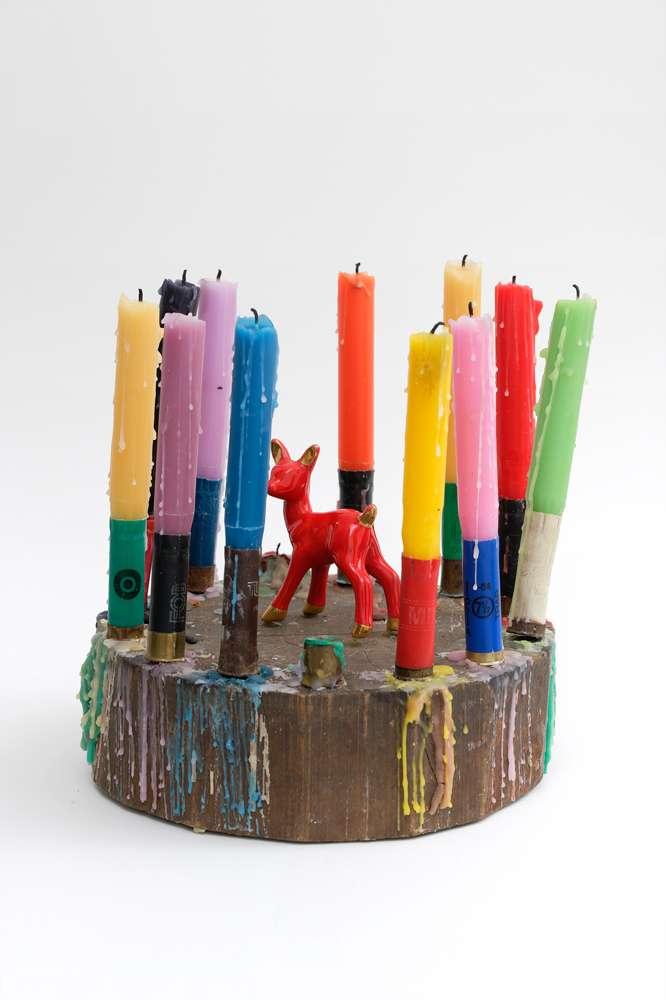 Présence Panchounette, L'anniversaire de Bambi, 1980 Bois, paraffine, cartouches de fusil en plastique et métal, faïence28 x 24 x 24 cm / 11  x 9 1/2 x 9 1/2 inches