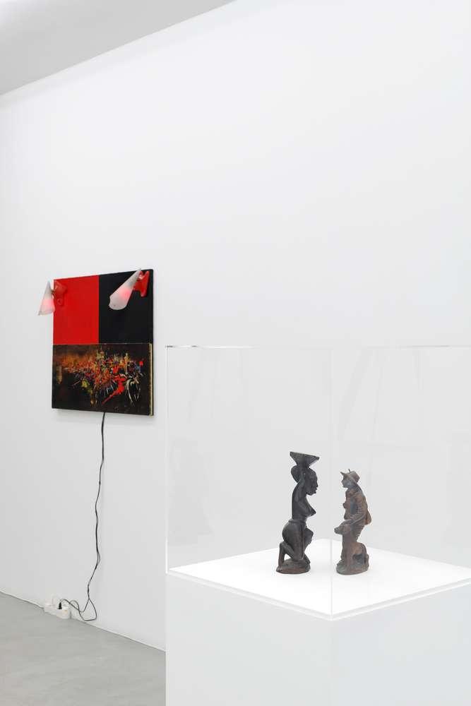 Présence Panchounette, Mathieu vu, 1980 Acrylique sur toile, toile imprimée, 2 appliques en plastique28 x 24 x 24 cm / 11  x 9 1/2 x 9 1/2 inches
