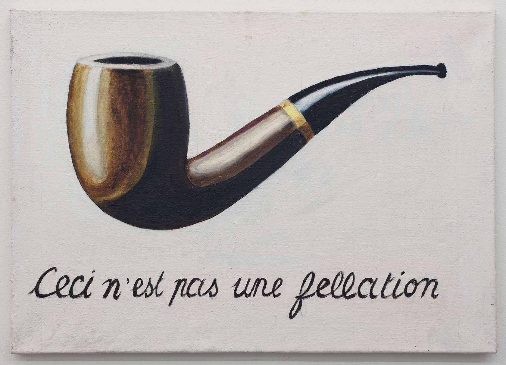 Présence Panchounette, Ceci n'est pas une fellation, 1979 Acrylique sur toile46 × 65 cm / 18 1/8 × 25 5/8 in.