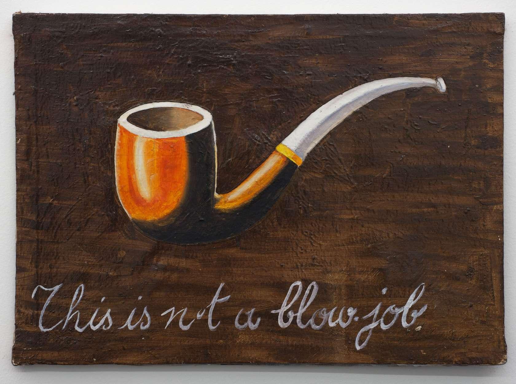 Présence Panchounette, This is not a blowjob, 1979 Huile et acrylique sur toile39 × 55 cm / 15 3/8 × 21 5/8 in.
