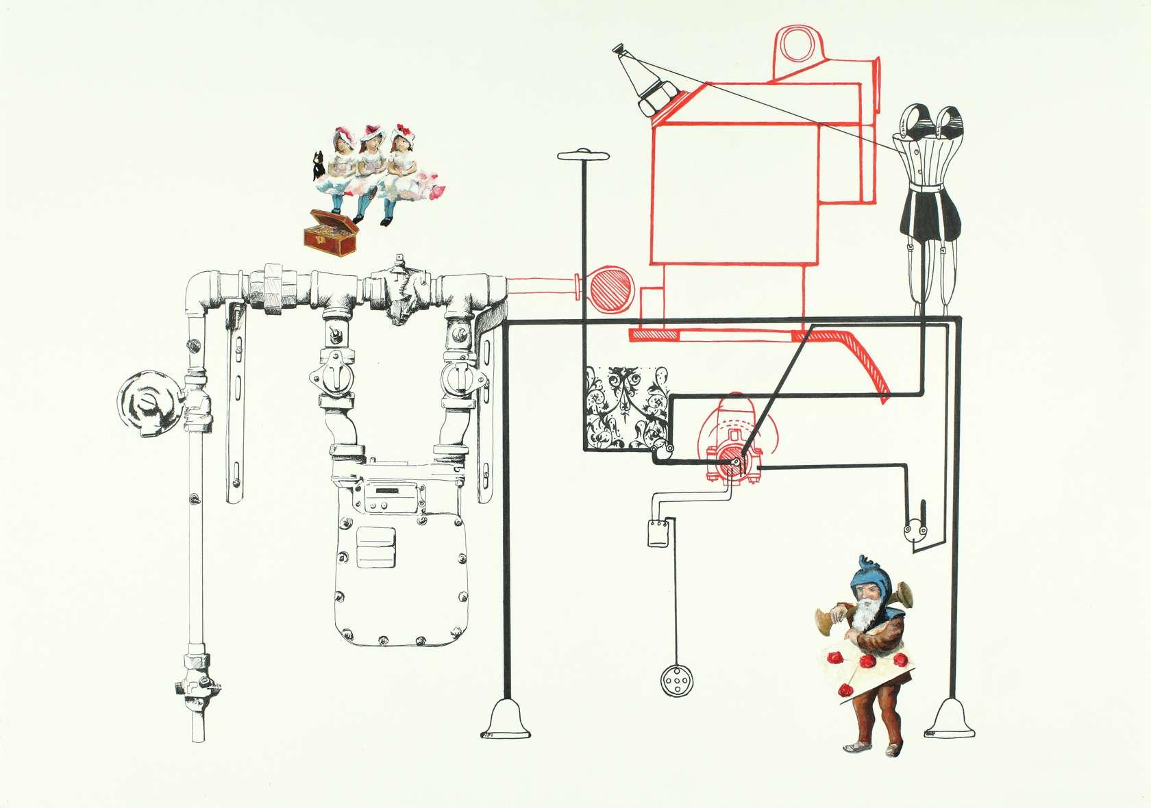 Sébastien Gouju, Sans titre , 2011 Encre, gouache et graphite sur papier42 x 60 cm / 16 1/2 x 23 5/8 inches
