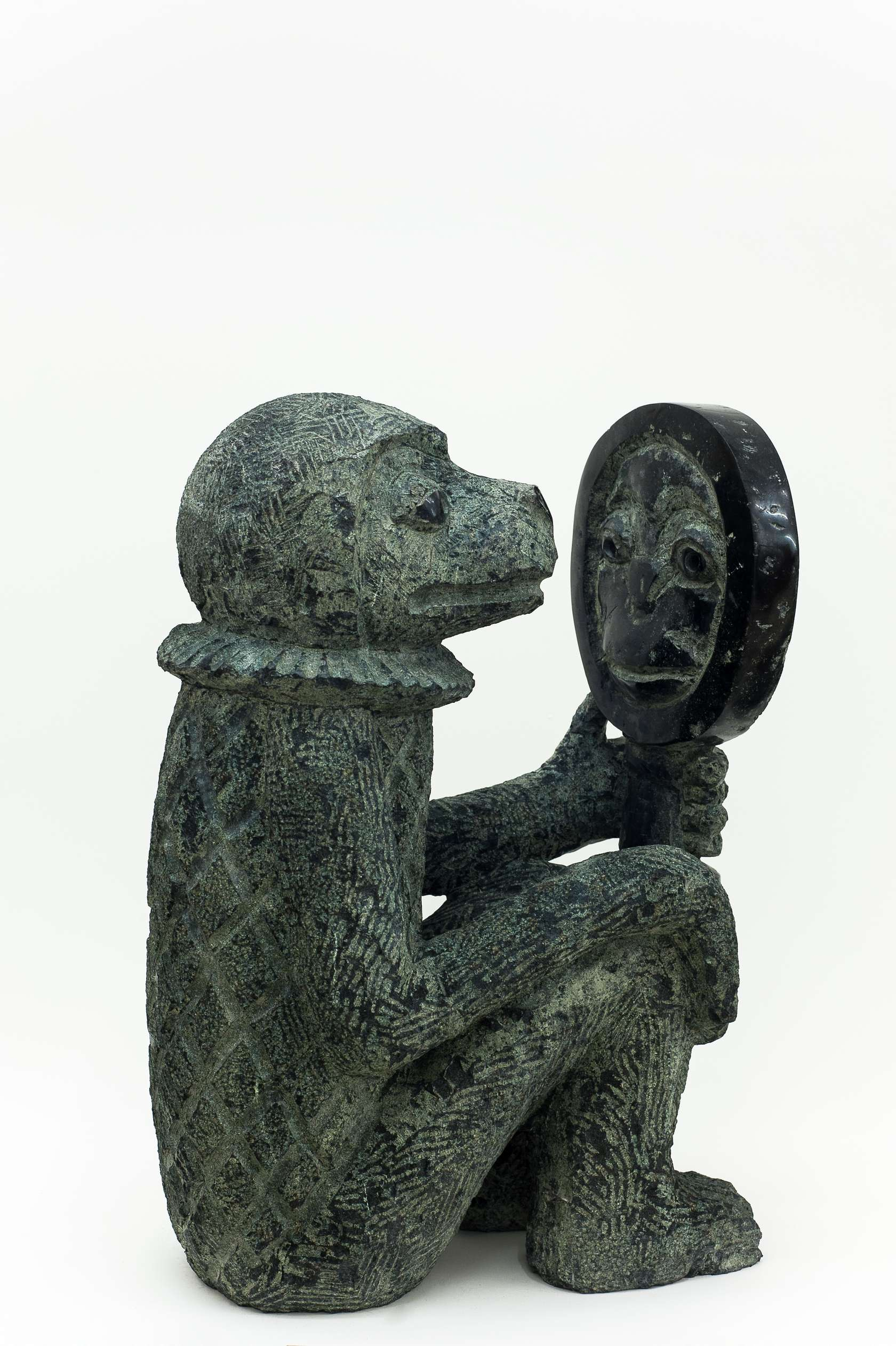 Stefan Rinck, Ape with Mirror, 2015 Diabase50 × 36 × 22 cm / 19 5/8 × 14 1/8 × 8 5/8 in.