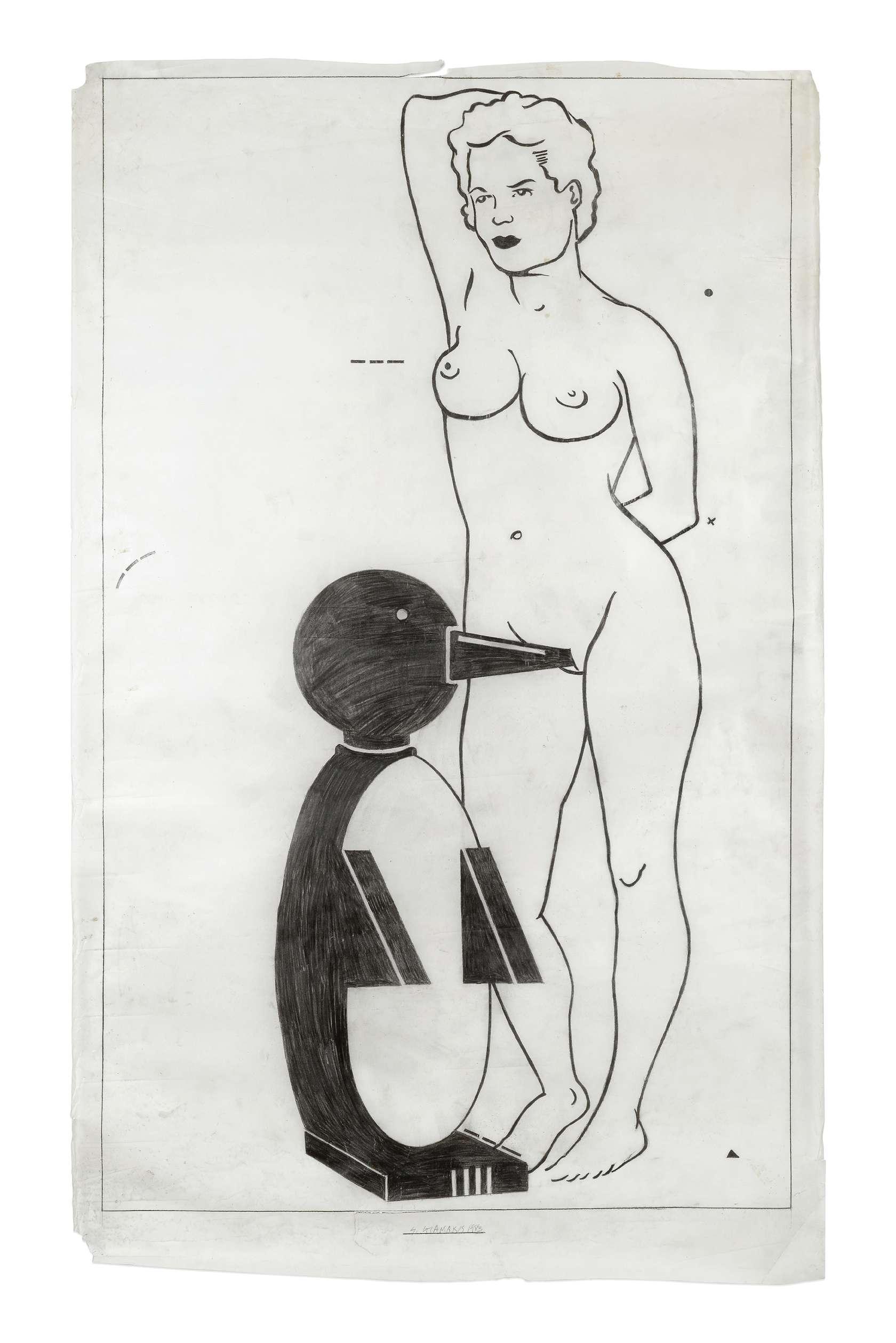 Steve Gianakos, Untitled, 1983 Mine de plomb sur papier calque148 x 92 cm / 58 2/8 x 36 2/8 inches