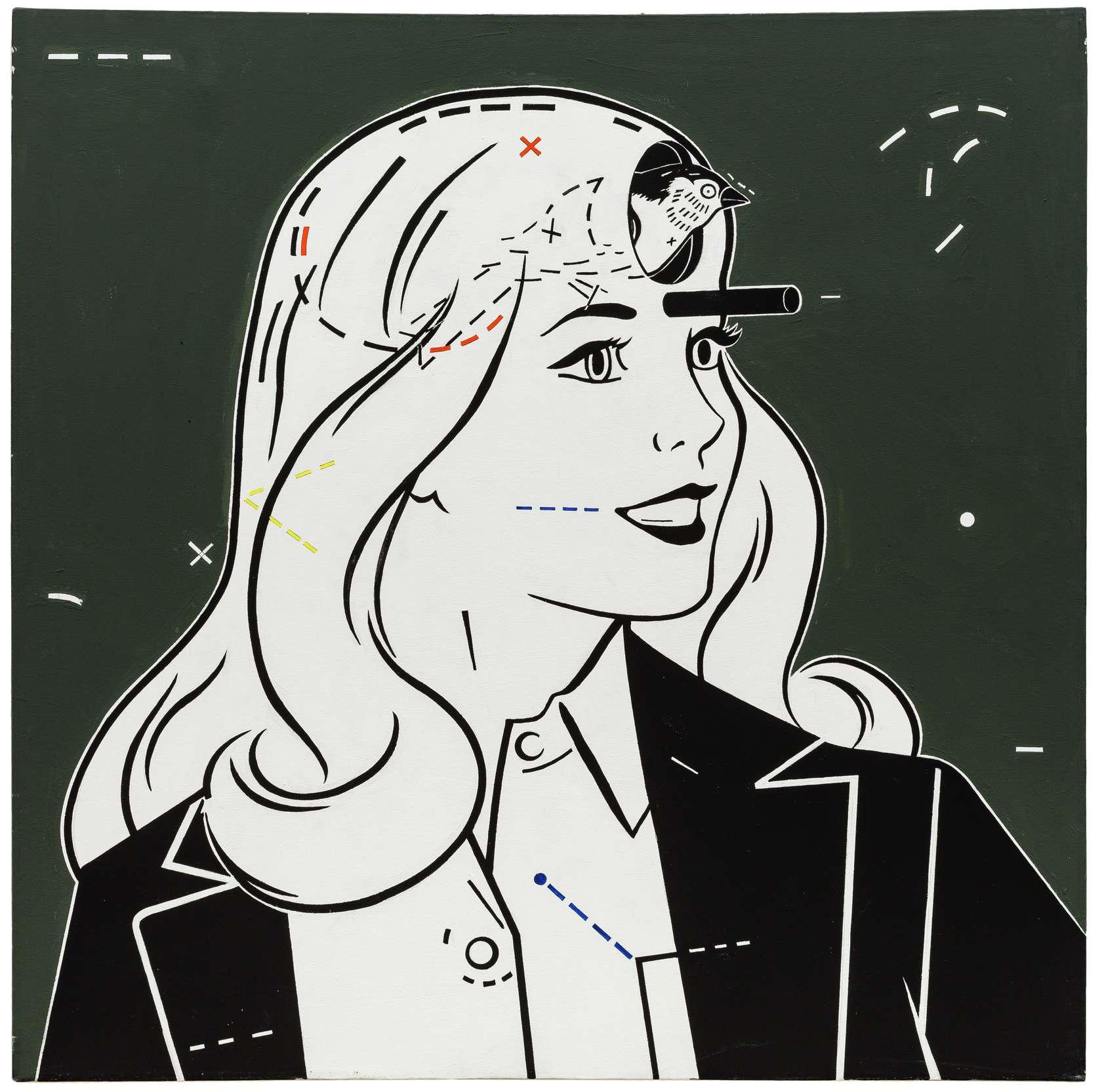 Steve Gianakos, Bird Brain #1, 1984 Acrylique sur toile91 x 91 cm / 35 7/8 x 35 7/8 inches