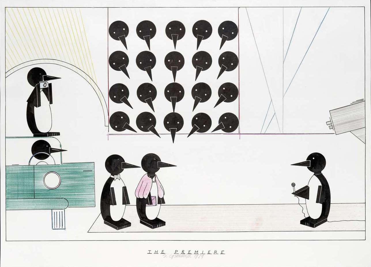 Steve Gianakos, The premiere, 1979 Encre et aquarelle sur papier74 x 104 cm / 29 1/8 x 41  inches