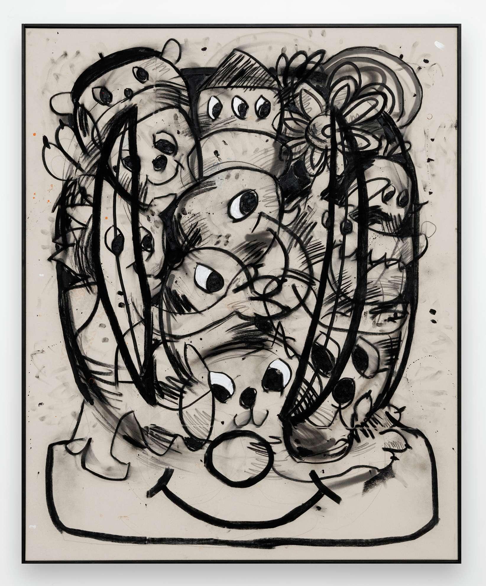Szabolcs Bozó, Hannah, 2020 Fusain, acrylique et pastel sur toile160 × 130 cm / 63  × 51 1/8 in.