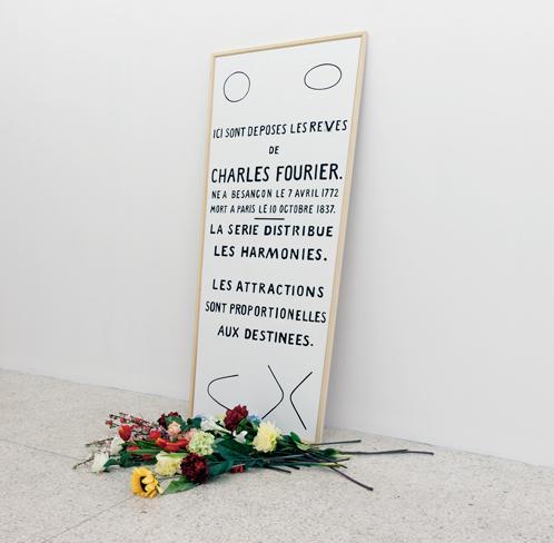 Taroop & Glabel, Les rêves de Fourier, 2004 Vénalyne sur contreplaqué et fleurs artificielles200 x 95 cm / 78 6/8 x 37 3/8 inches