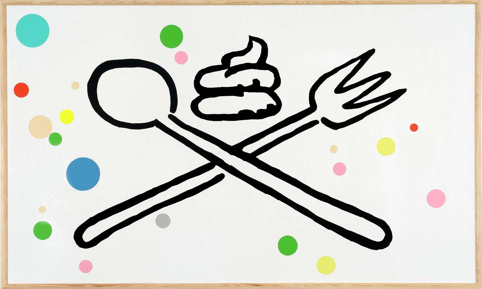 Taroop & Glabel, GASTRO - PARTY étron sur cuillère fourchette, 2007 Vénalyne sur contreplaqué