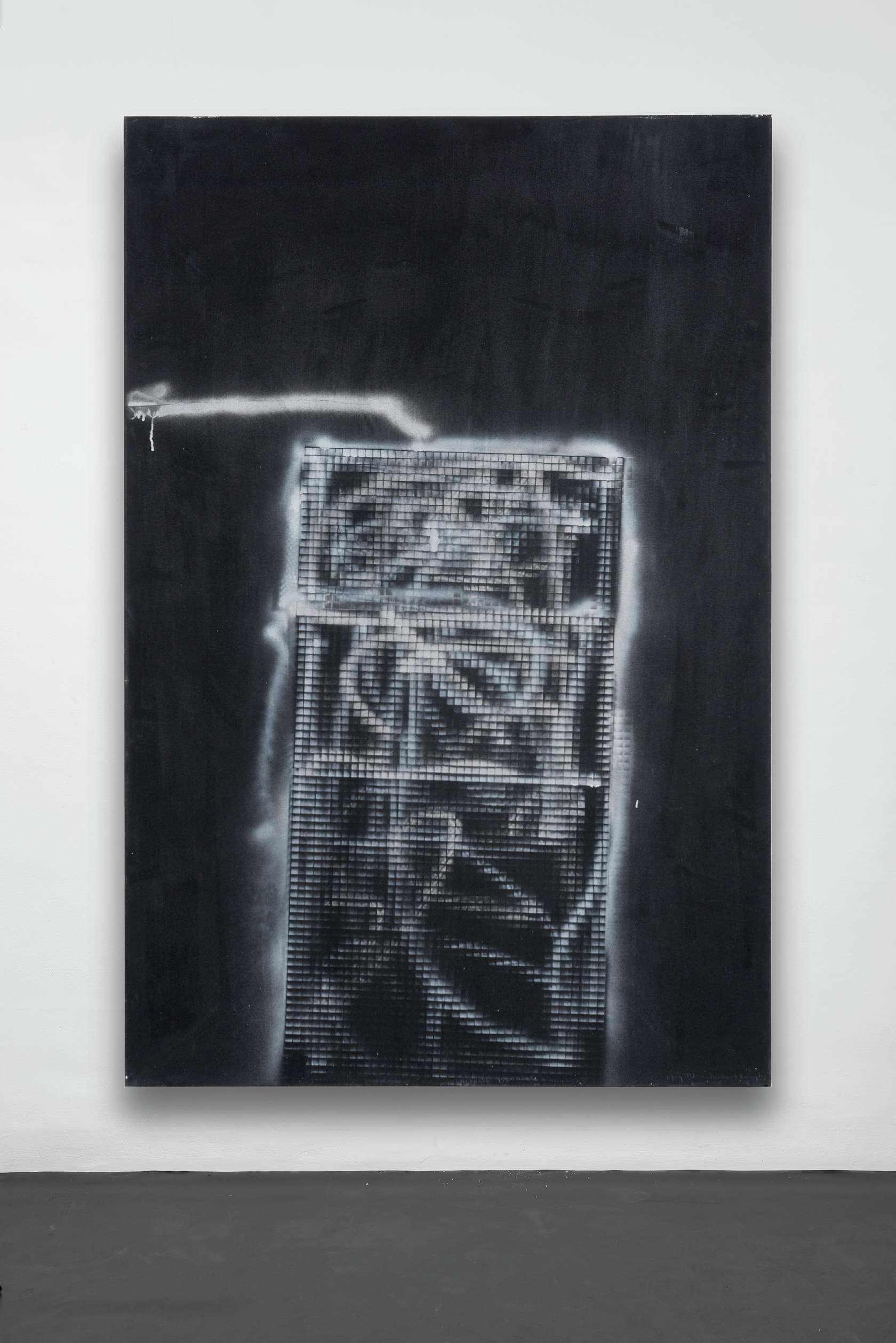 William S. Burroughs, Unworkable Machine, 1993 Acrylique et peinture aérosol sur toile183 × 122 cm / 72  × 48  in.