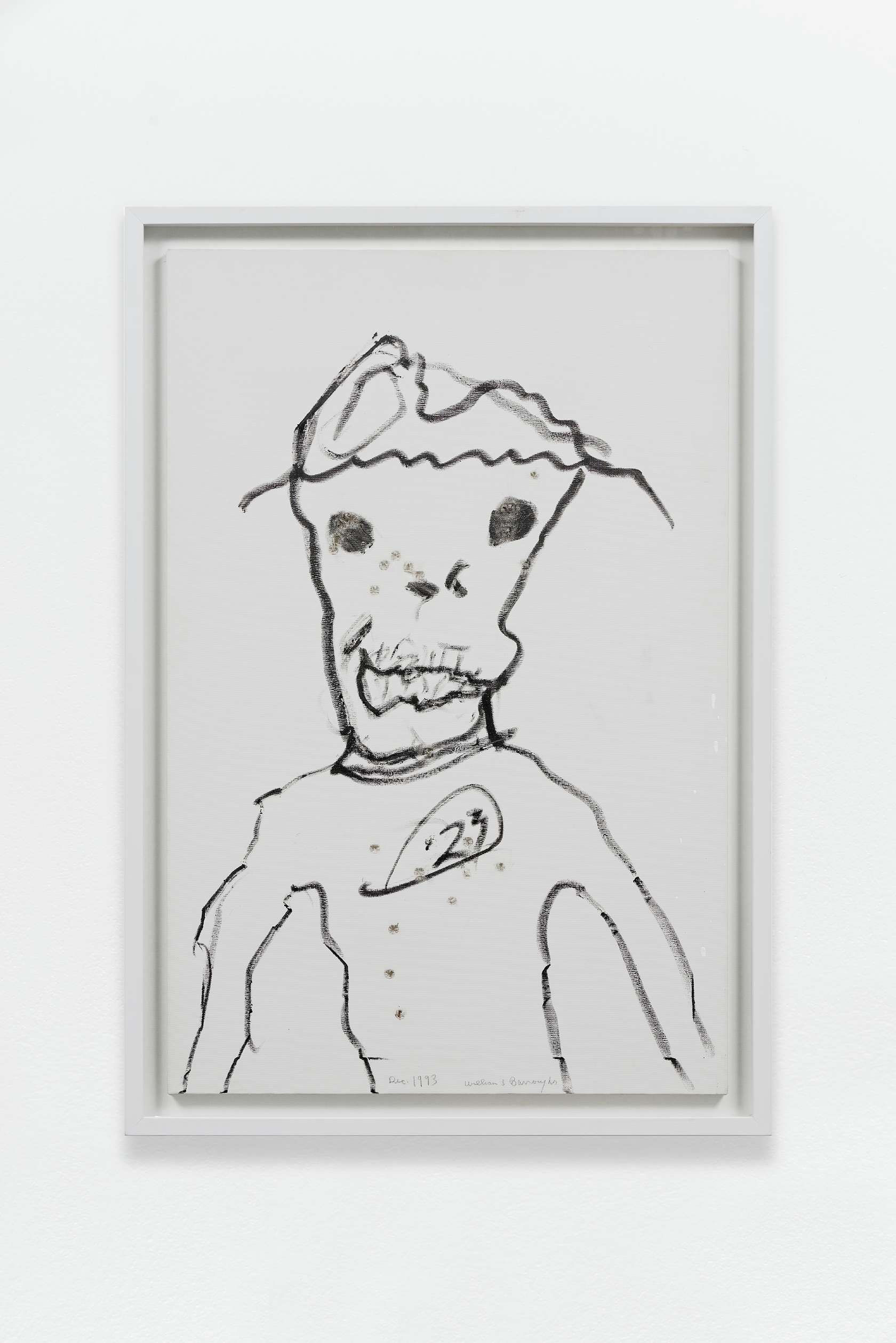 William S. Burroughs, Untitled (23 badge), 1993 Acrylique sur toile, 23 impacts de balles91 × 60.5 cm / 35 7/8 × 23 7/8 in.