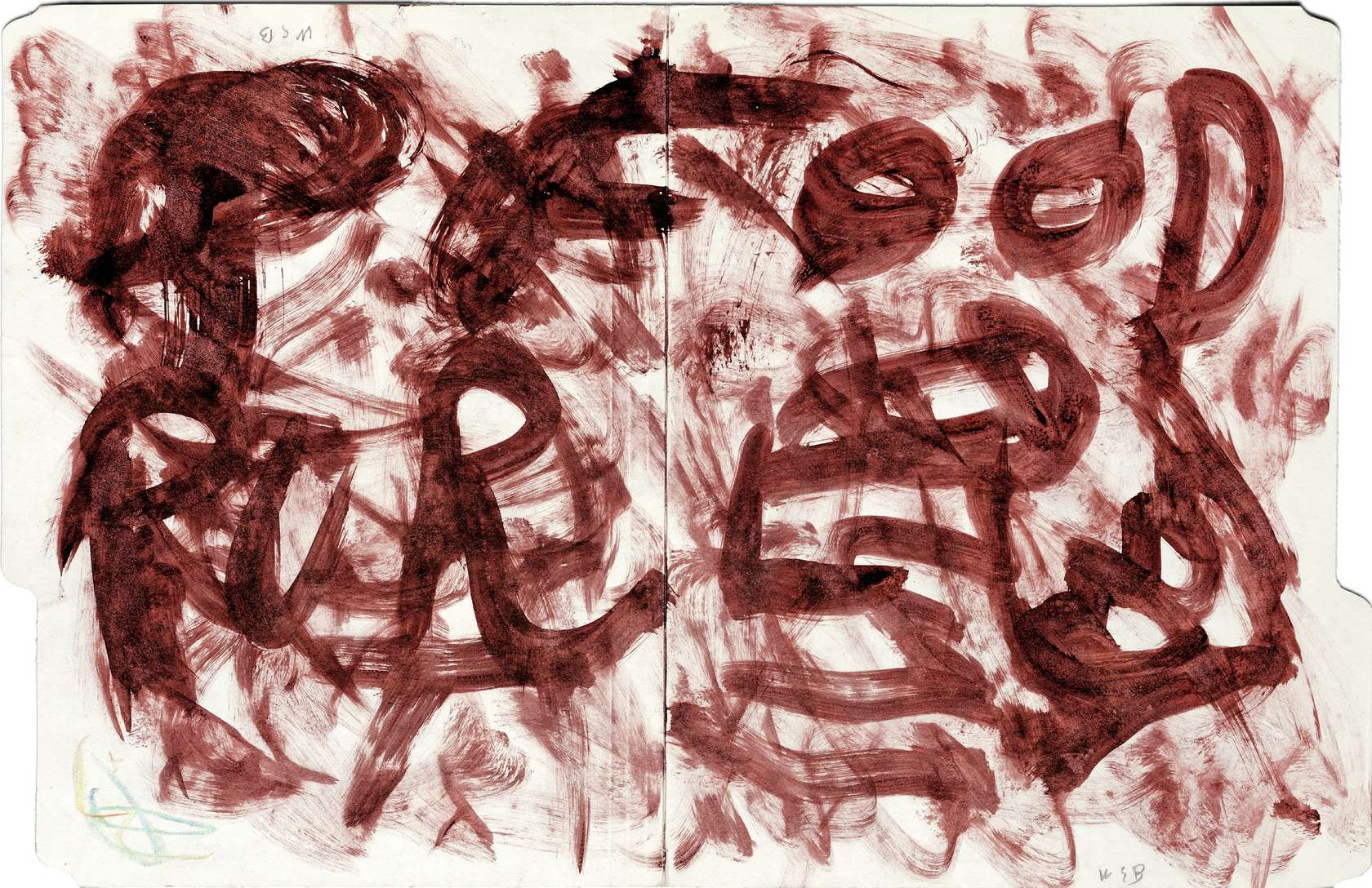 William S. Burroughs, Untitled, 1992 Encre sur chemise cartonnée (recto verso)30 × 47 cm / 11 6/8 × 18 1/2 in.
