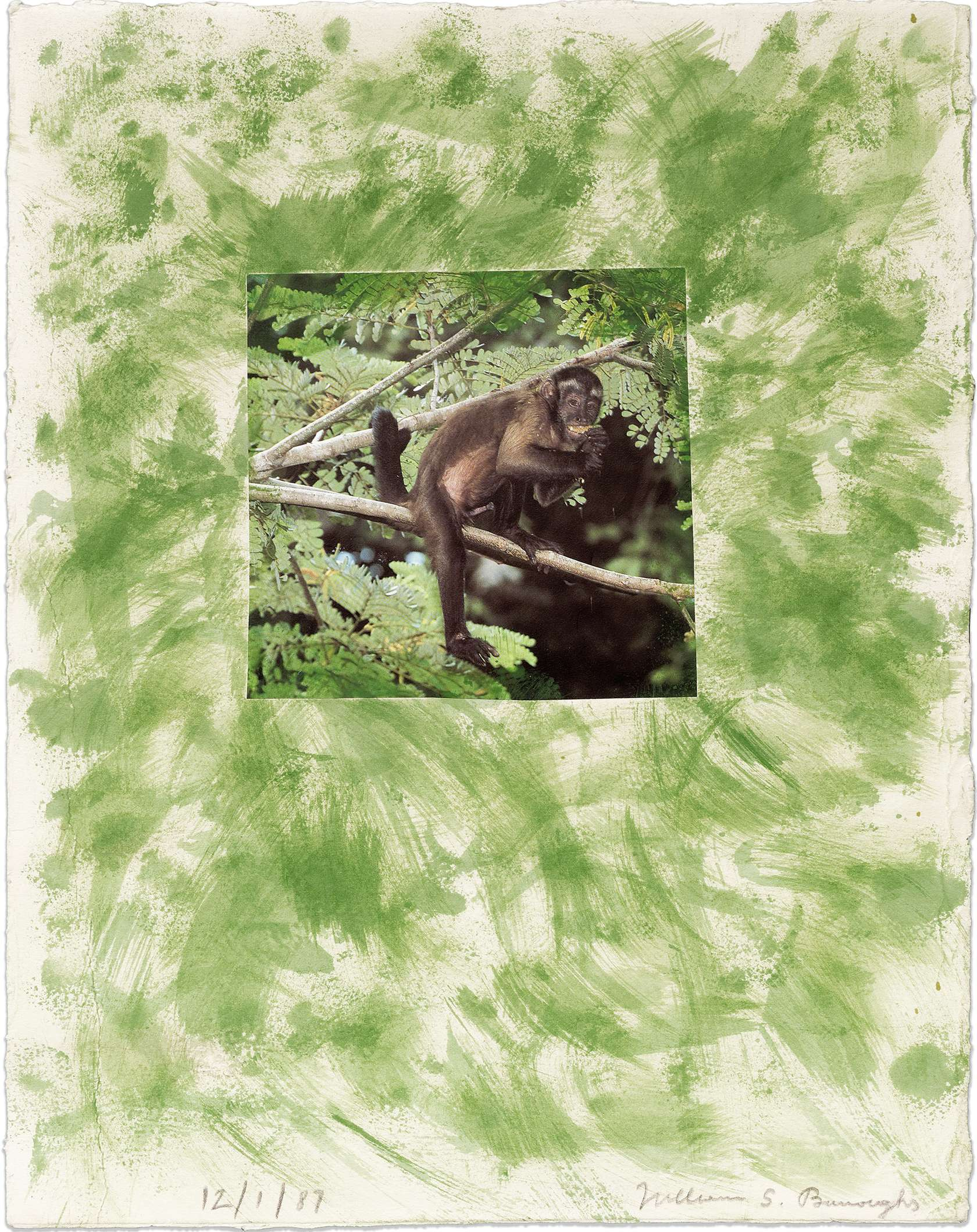 William S. Burroughs, Untitled, 1987 Peinture acrylique et collage photographique sur papier35.5 × 28 cm / 14  × 11  in.