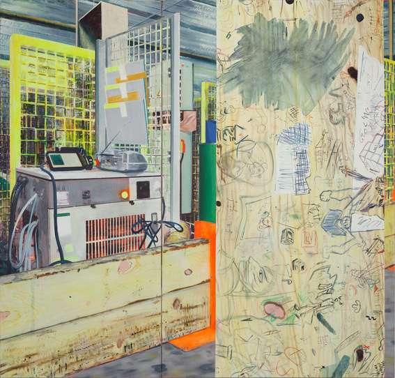 Laurent Proux, Poste de travail et graffiti, 2008 Le travail de l'art, Médiathèque Intercommunale Éric Rohmer, Tulle (FR) 2 octobre - 28 novembre, 2019 © F. Avril